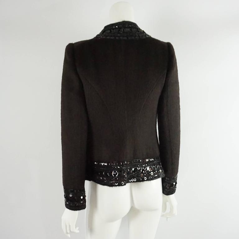 Oscar de la Renta Brown Wool Blend Jacket with Beading - 8 3