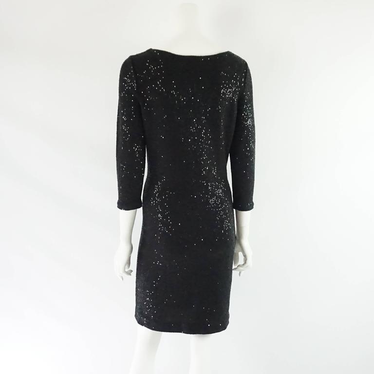 Oscar de la Renta Black Silk Blend Sequin Dress - M 3