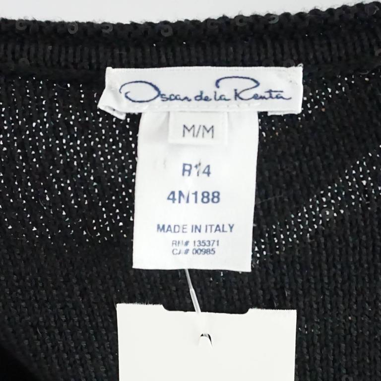 Oscar de la Renta Black Silk Blend Sequin Dress - M 4