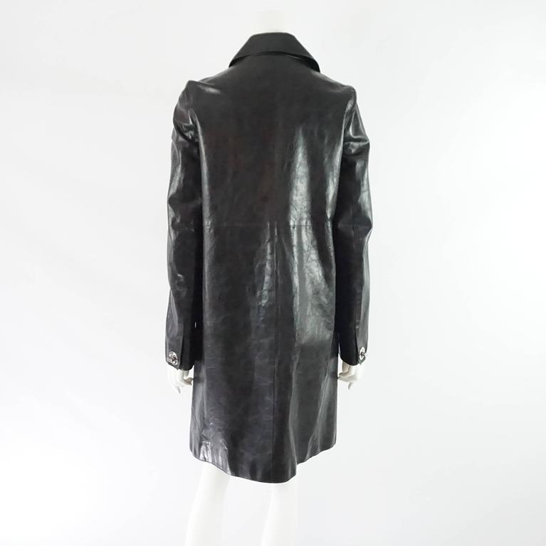 DSquared2 Black Leather Full Coat - 46 3