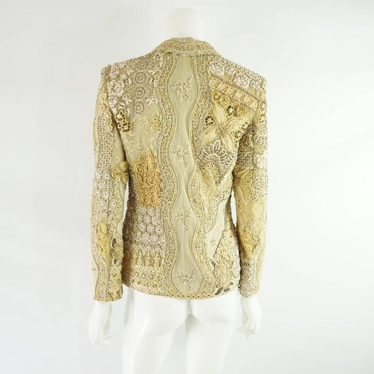 Beige Ella Singh Cream Lace and Embroidered Jacket with Rhinestones - 36 - 1990's  For Sale