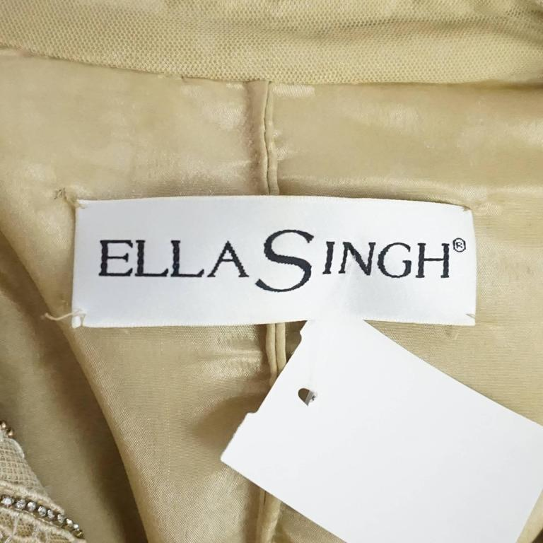 Women's Ella Singh Cream Lace and Embroidered Jacket with Rhinestones - 36 - 1990's  For Sale