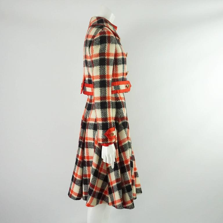 Brown Ronald Amey Black, Ivory, and Red Plaid Wool Dress Set - 8 - 1970's  For Sale