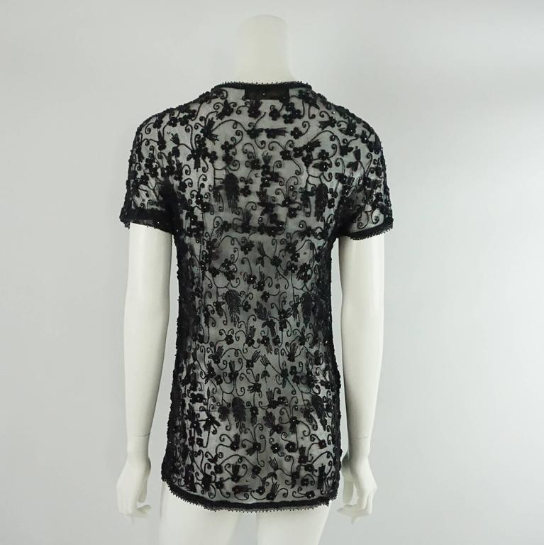 Donna Karan Black Heavily Beaded Mesh Short Sleeve Jacket - 4 - 1990's  In Excellent Condition For Sale In Palm Beach, FL