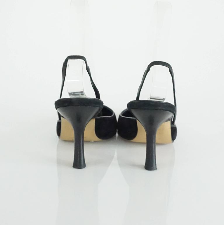 Chanel Black Suede and Lizard Toe Slingbacks - 37 4