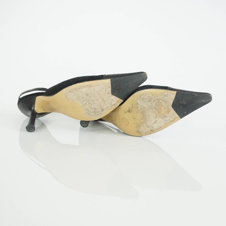 Chanel Black Suede and Lizard Toe Slingbacks - 37 5