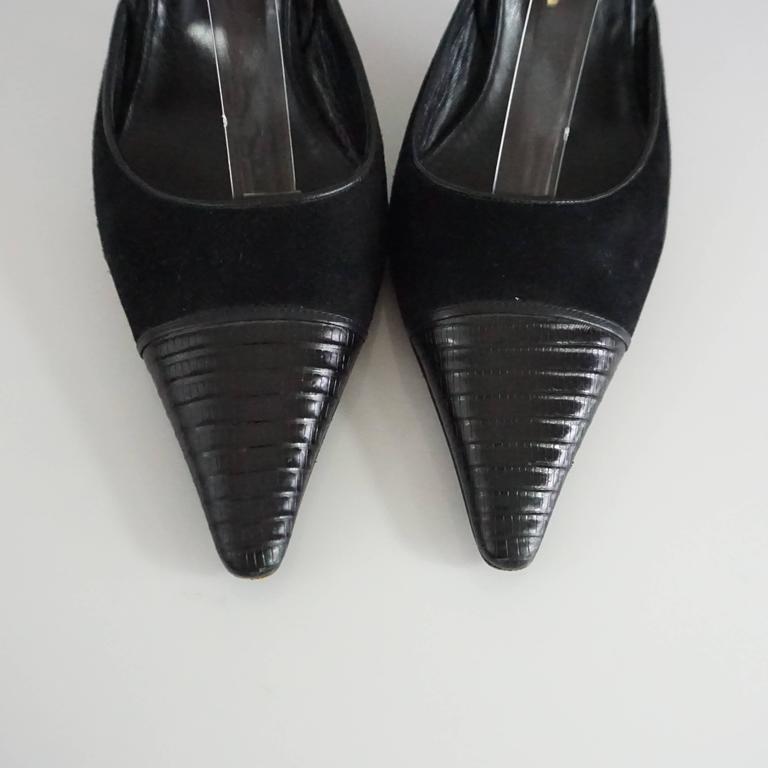 Chanel Black Suede and Lizard Toe Slingbacks - 37 6