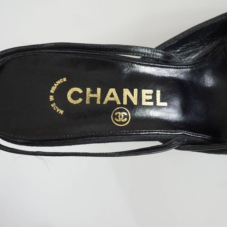 Chanel Black Suede and Lizard Toe Slingbacks - 37 7