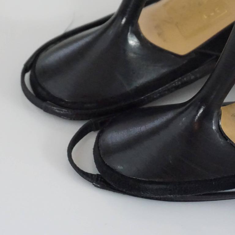 Chanel Black Suede and Lizard Toe Slingbacks - 37 8
