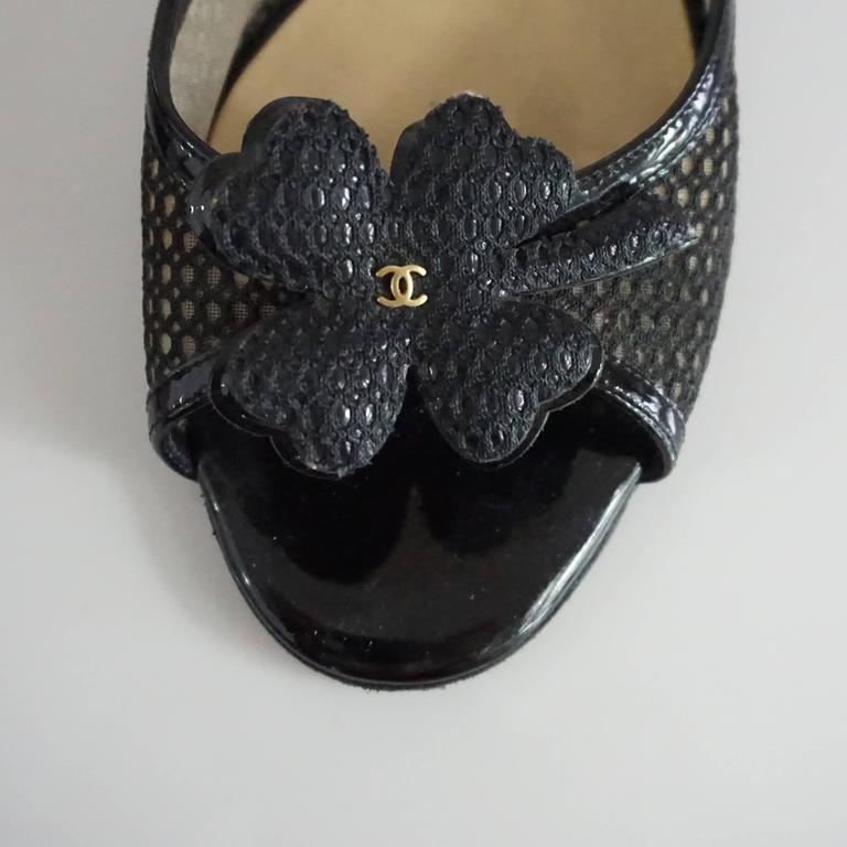 Chanel Black Mesh Clover Slides with CC - 38 For Sale 2
