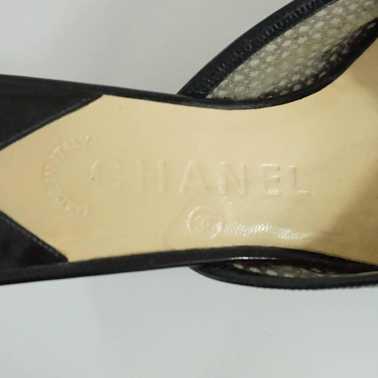 Chanel Black Mesh Clover Slides with CC - 38 For Sale 3