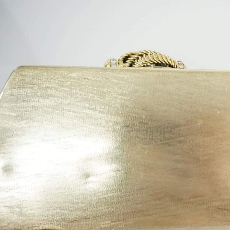 Rodo Vintage Gold Rhinestone Metal Clutch and Crossbody - 1980's  9