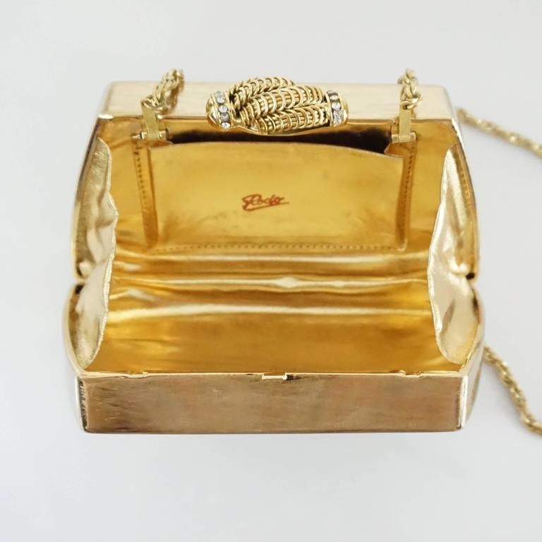 Rodo Vintage Gold Rhinestone Metal Clutch and Crossbody - 1980's  5