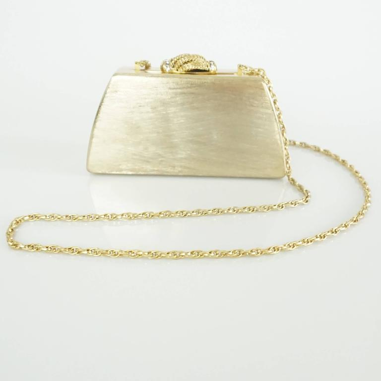 Rodo Vintage Gold Rhinestone Metal Clutch and Crossbody - 1980's  7