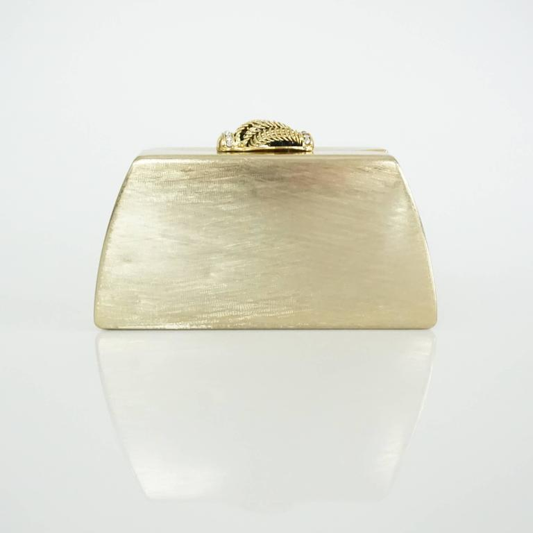 Rodo Vintage Gold Rhinestone Metal Clutch and Crossbody - 1980's  3