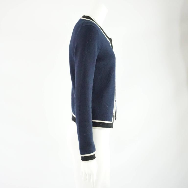 Chanel Navy Cashmere Sweater Set With Black And White Trim
