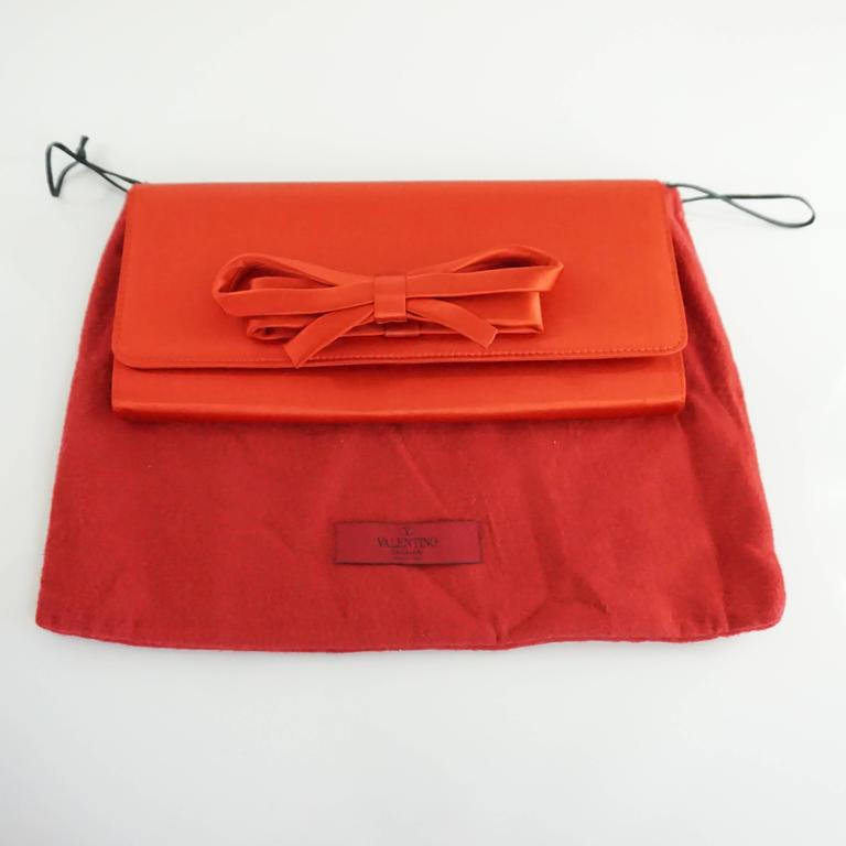 Valentino Red Satin Bow Clutch And Crossbody Bag At 1stdibs