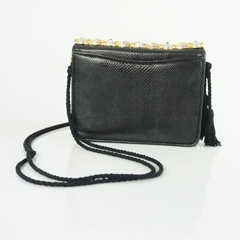 Judith Leiber Black Lizard Crossbody and Clutch with Rhinestone Top  3