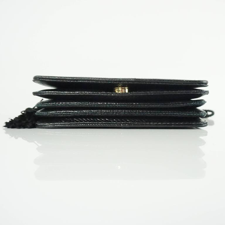 Judith Leiber Black Lizard Crossbody and Clutch with Rhinestone Top  4