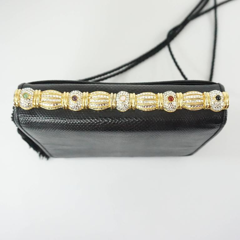 Judith Leiber Black Lizard Crossbody and Clutch with Rhinestone Top  7