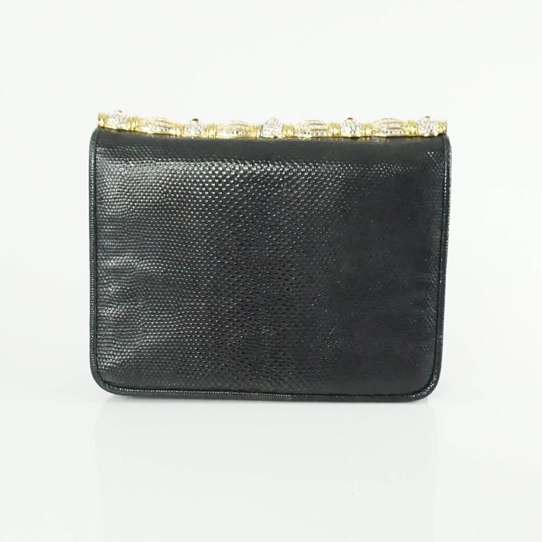 Judith Leiber Black Lizard Crossbody and Clutch with Rhinestone Top  8
