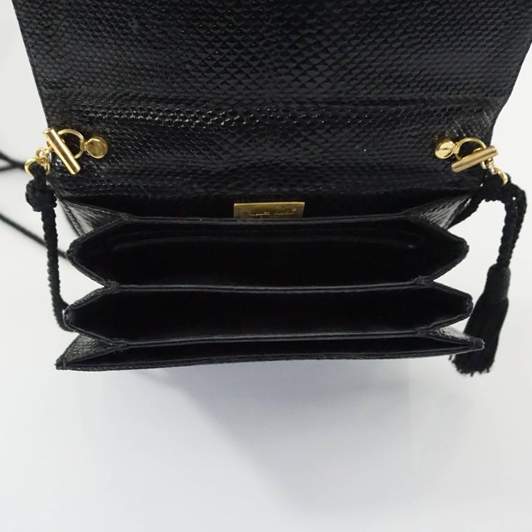 Judith Leiber Black Lizard Crossbody and Clutch with Rhinestone Top  5