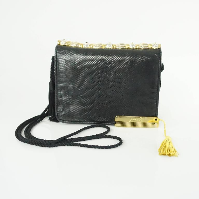 Judith Leiber Black Lizard Crossbody and Clutch with Rhinestone Top  9