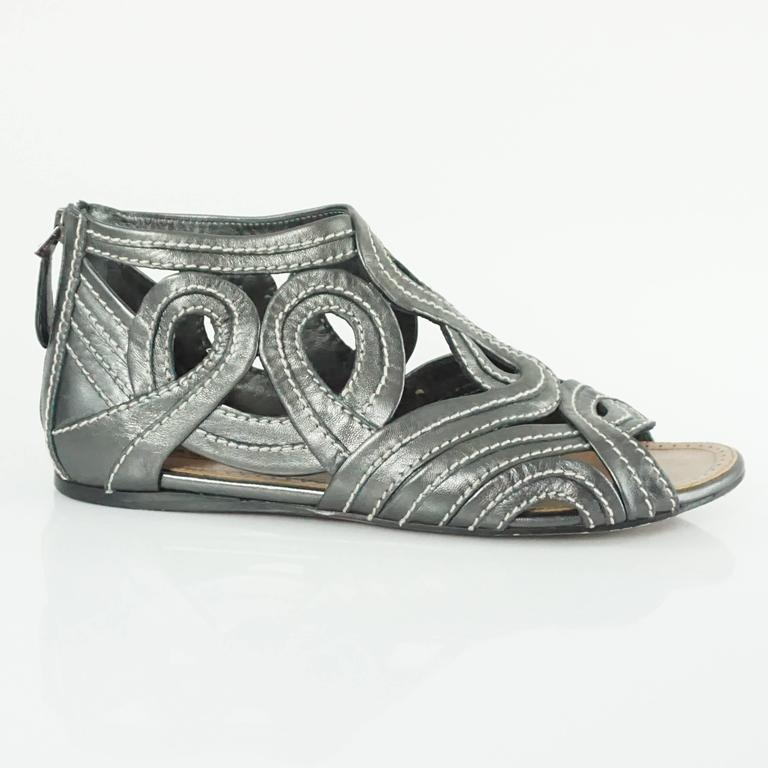 Alaia Gunmetal Leather Gladiator Shoes 37 5 For Sale At