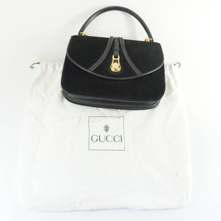 Gucci Vintage Black Suede Top Handle Bag With Leather - 1950s - Ghw lpKzuCbxv