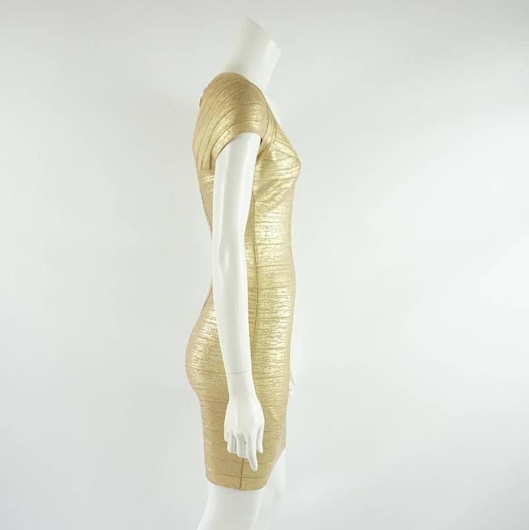 Herve Leger Metallic Gold Bandage Dress - S 2