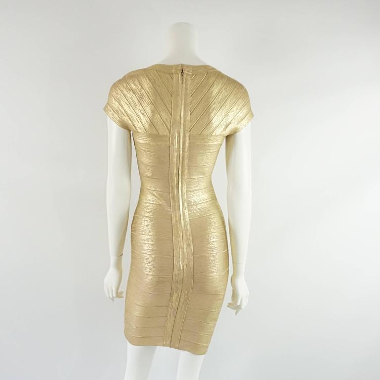 Herve Leger Metallic Gold Bandage Dress - S 3