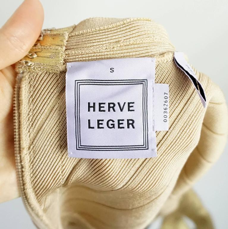 Herve Leger Metallic Gold Bandage Dress - S 4
