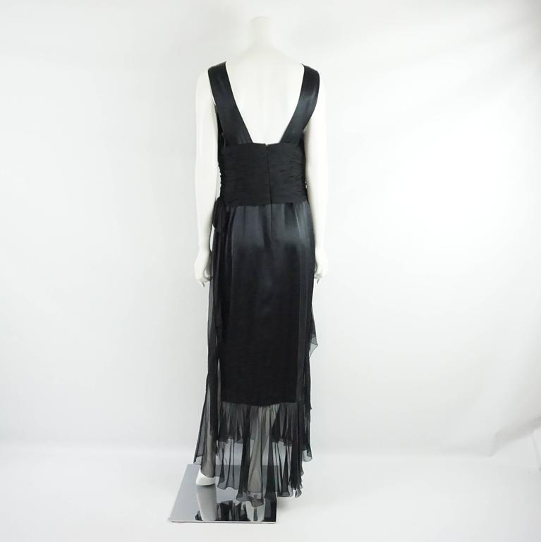 Chanel Black Silk and Silk Chiffon Sleeveless Gown - 42 - 06A For ...