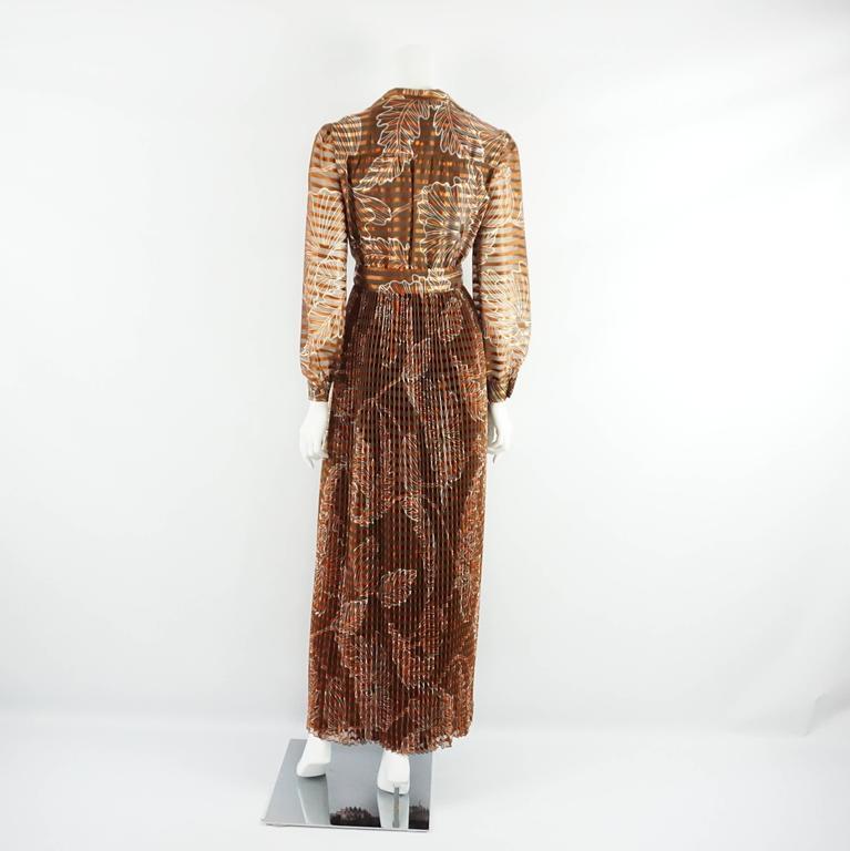 Oscar de la Renta Rust Print Silk Organza Gown - 6 - Circa 60's 3