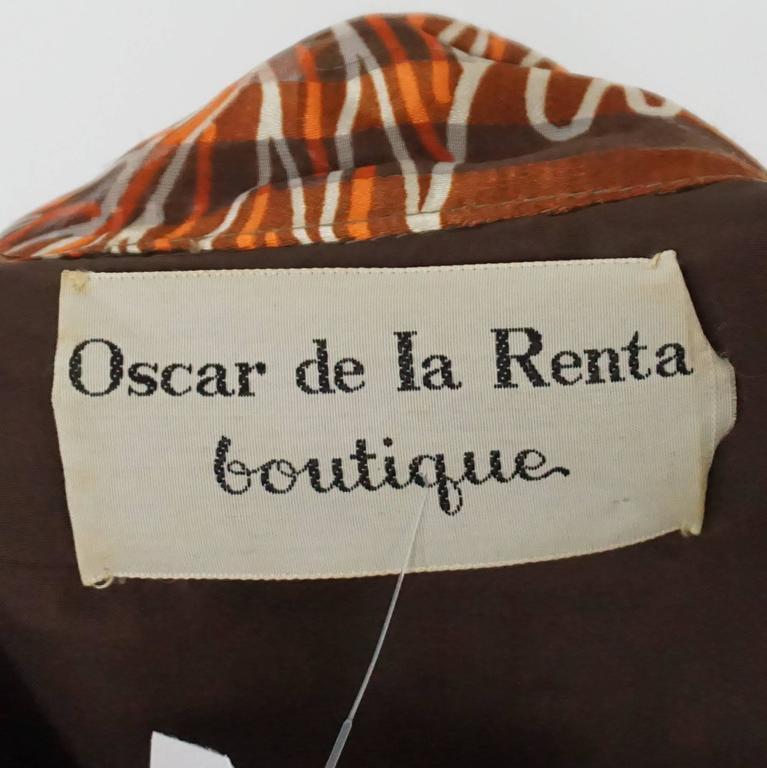 Oscar de la Renta Rust Print Silk Organza Gown - 6 - Circa 60's 4
