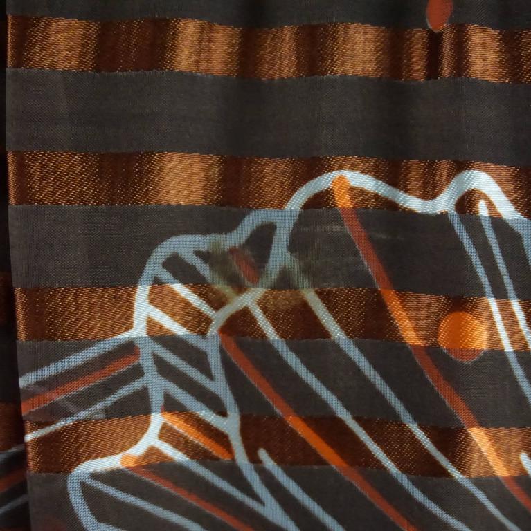 Oscar de la Renta Rust Print Silk Organza Gown - 6 - Circa 60's 5