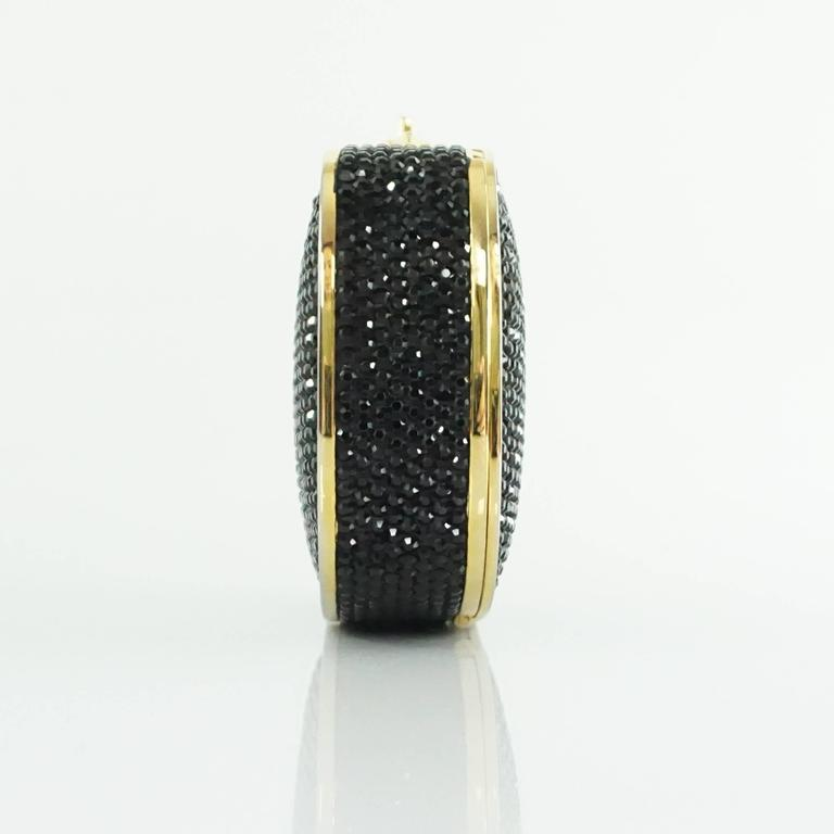 Judith Leiber Black Rhinestone and Gold Frame Small Minaudiere  2