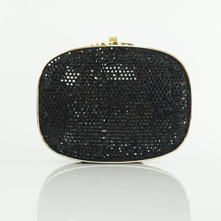 Judith Leiber Black Rhinestone and Gold Frame Small Minaudiere  3