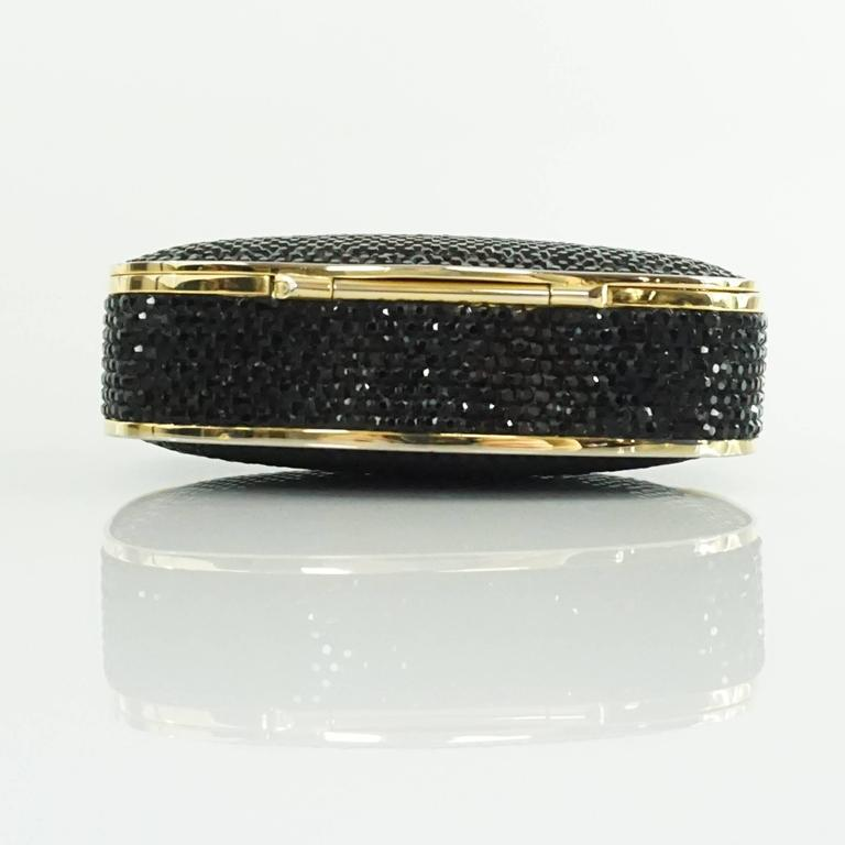 Judith Leiber Black Rhinestone and Gold Frame Small Minaudiere  4