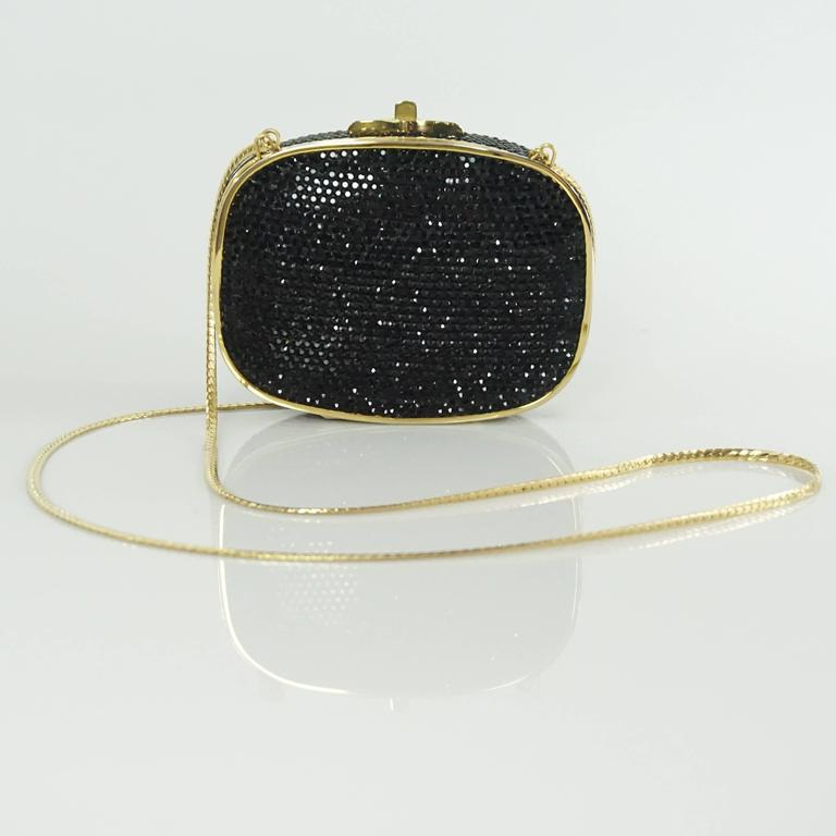 Judith Leiber Black Rhinestone and Gold Frame Small Minaudiere  5