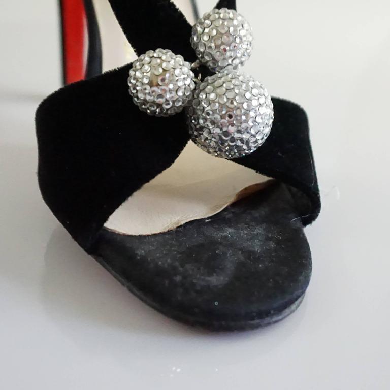 Christian Louboutin Black Velvet Sandals with Rhinestone Cluster - 36.5 For Sale 1