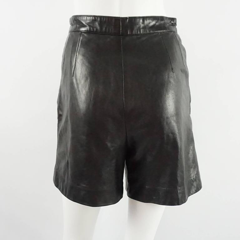 Escada by Margaretha Ley Black Leather Shorts - 38 - 1980's  In Good Condition For Sale In Palm Beach, FL