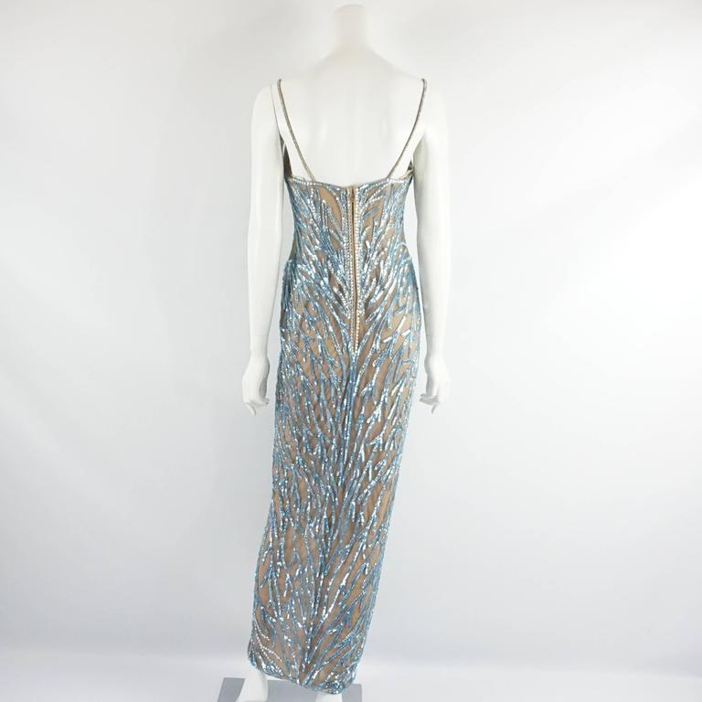 Gray Bob Mackie Nude Mesh Blue Beaded Gown - 8 - circa 1980's For Sale