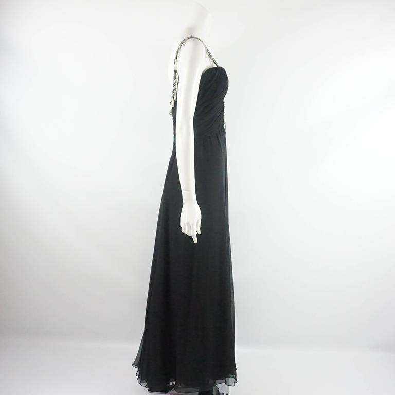 Bob Mackie Black Silk Chiffon Halter Gown with Beading and Shawl -8- Circa 1980s 2