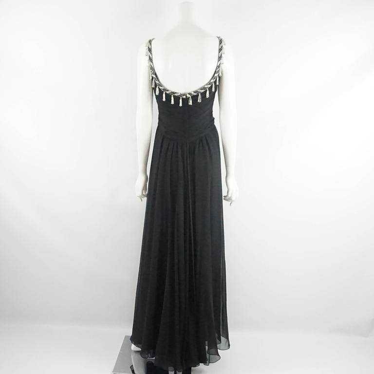 Bob Mackie Black Silk Chiffon Halter Gown with Beading and Shawl -8- Circa 1980s 3