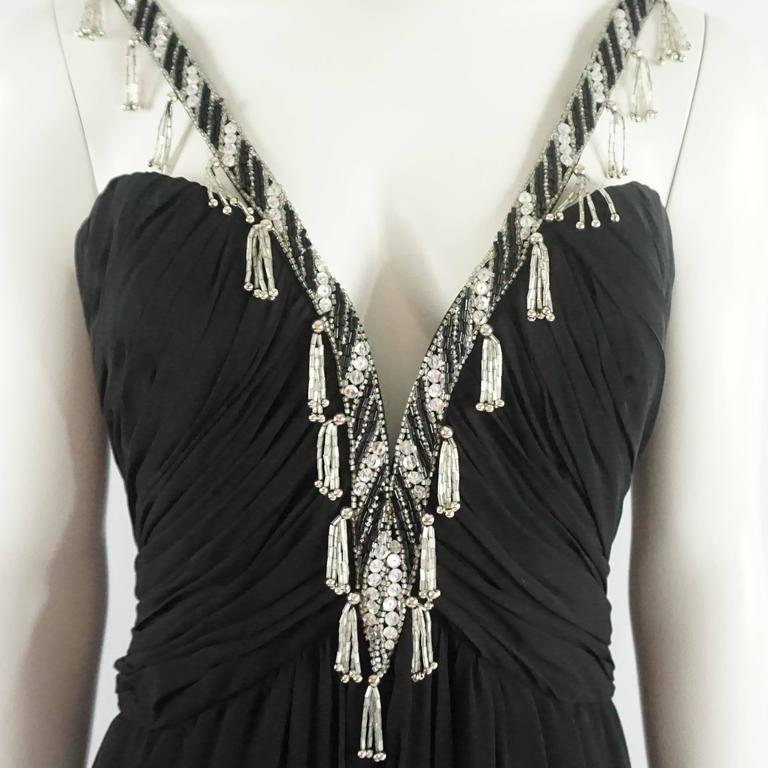 Bob Mackie Black Silk Chiffon Halter Gown with Beading and Shawl -8- Circa 1980s 4