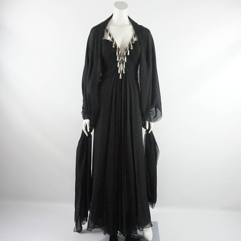 Bob Mackie Black Silk Chiffon Halter Gown with Beading and Shawl -8- Circa 1980s 5
