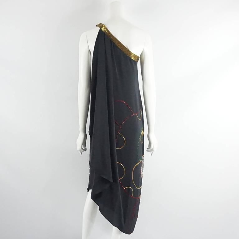 Palm Beach Chic Circa 1990s: Bob Mackie Black Silk One Shoulder Dress With Beading