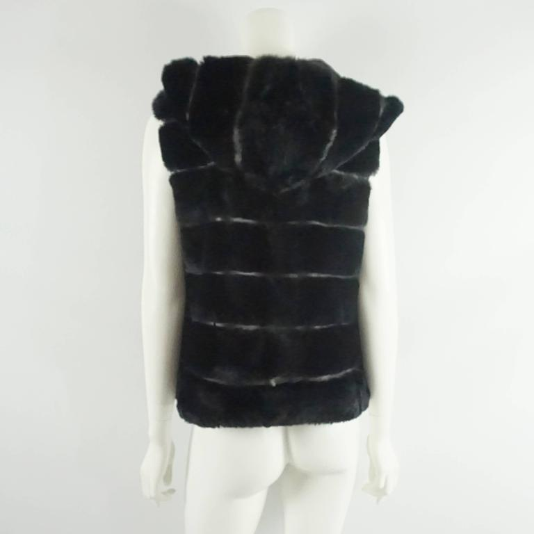 Olivia Preckel Black Sheared Beaver and Leather Vest with Hood - S/M In Excellent Condition For Sale In Palm Beach, FL