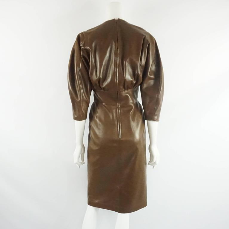 Jean Claude Jitrois Brown Leather Long Sleeve Dress - 6 -  circa 1980's  3